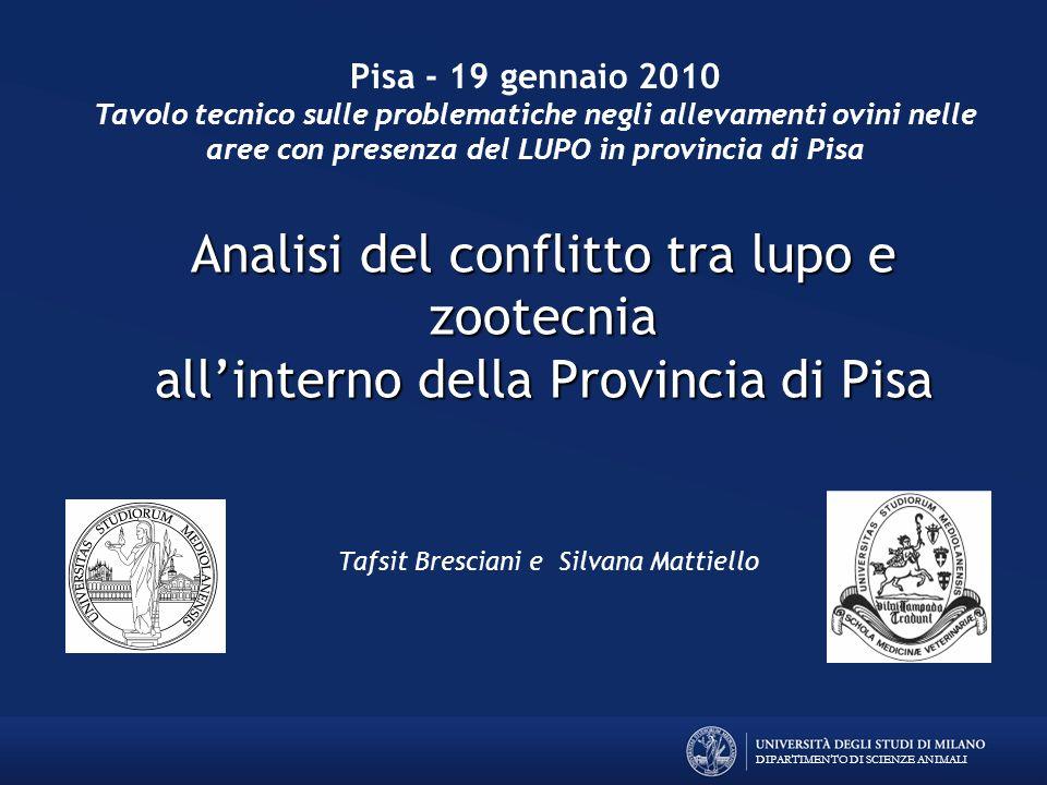 DIPARTIMENTO DI SCIENZE ANIMALI Analisi del conflitto tra lupo e zootecnia allinterno della Provincia di Pisa Tafsit Bresciani e Silvana Mattiello Pis
