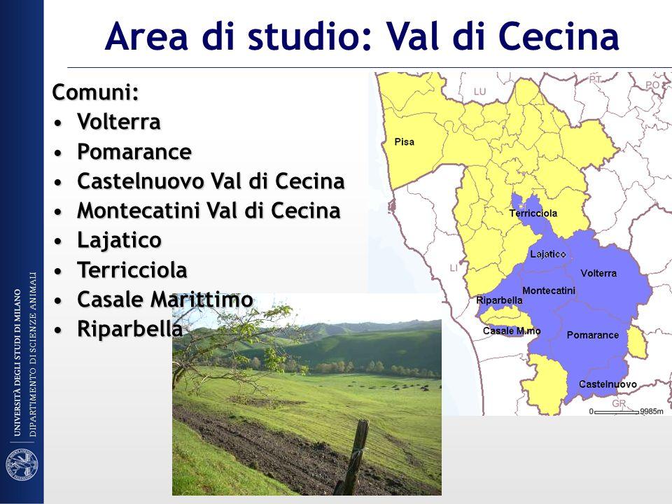 Area di studio: Val di Cecina Comuni: VolterraVolterra PomarancePomarance Castelnuovo Val di CecinaCastelnuovo Val di Cecina Montecatini Val di Cecina