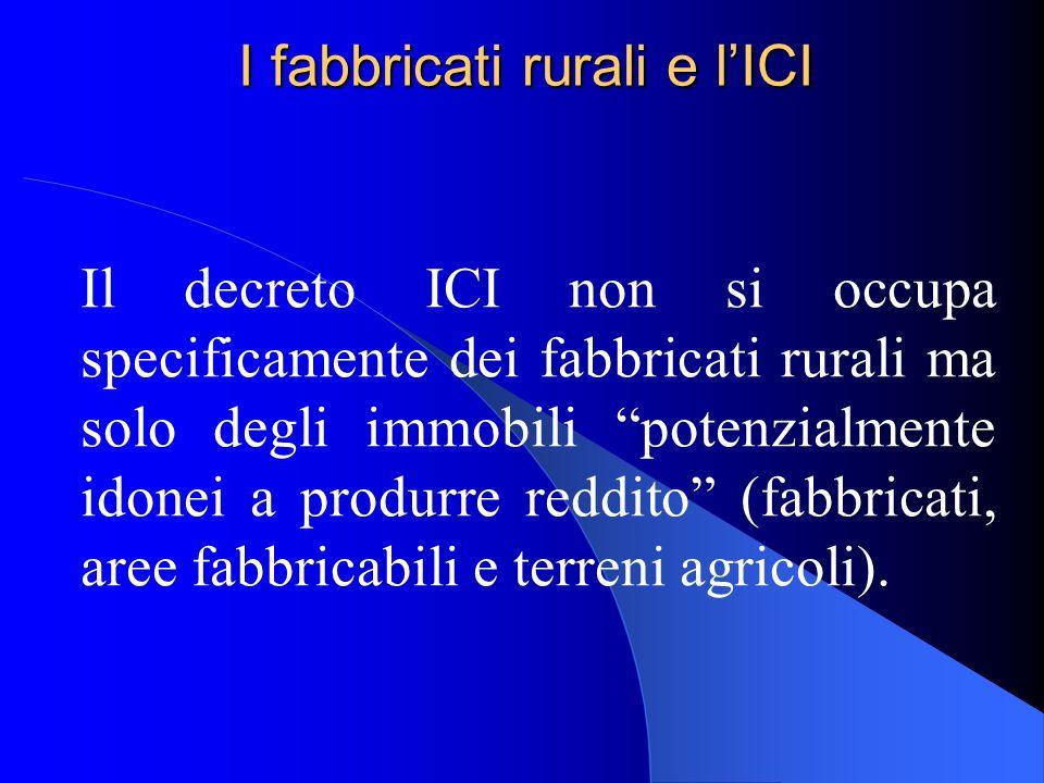 I fabbricati rurali e lICI Il decreto ICI non si occupa specificamente dei fabbricati rurali ma solo degli immobili potenzialmente idonei a produrre reddito (fabbricati, aree fabbricabili e terreni agricoli).