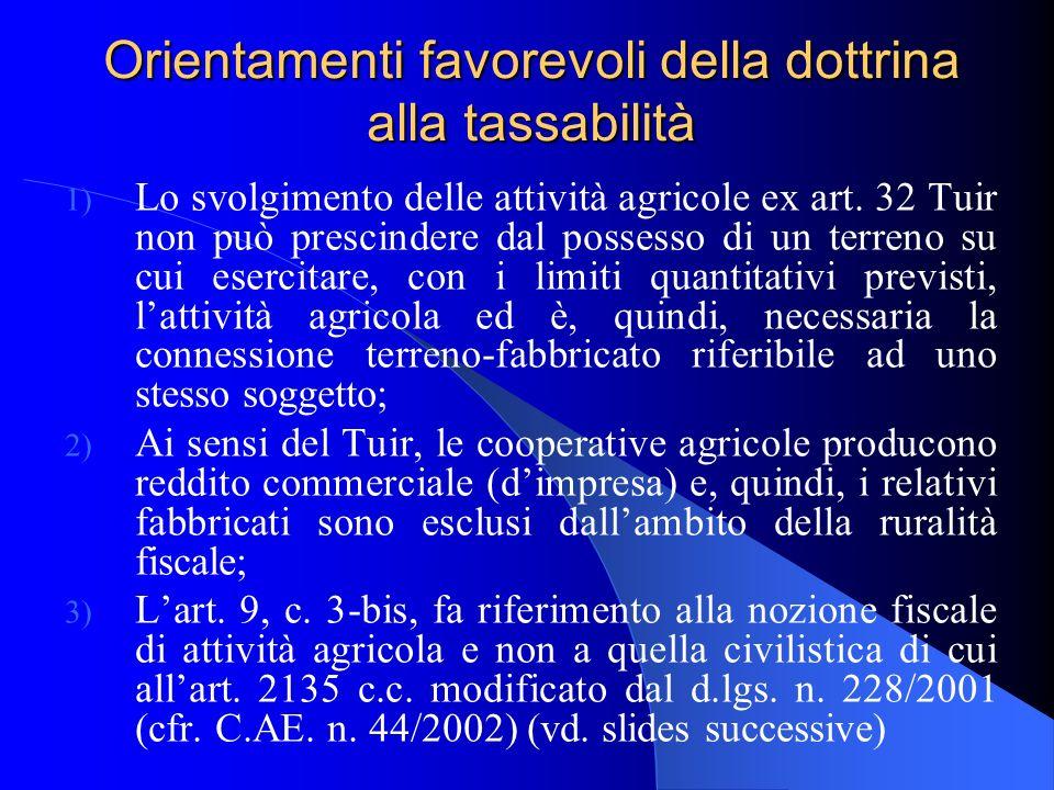 Orientamenti contrari della dottrina alla tassabilità a) Lart.
