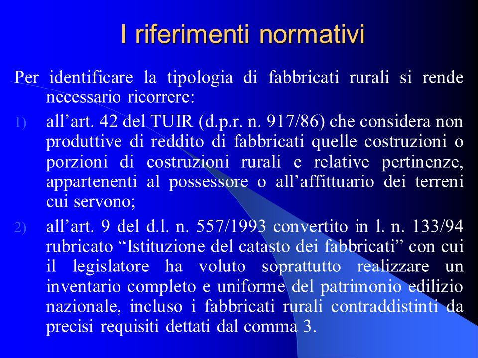 I riferimenti normativi Per identificare la tipologia di fabbricati rurali si rende necessario ricorrere: 1) allart.