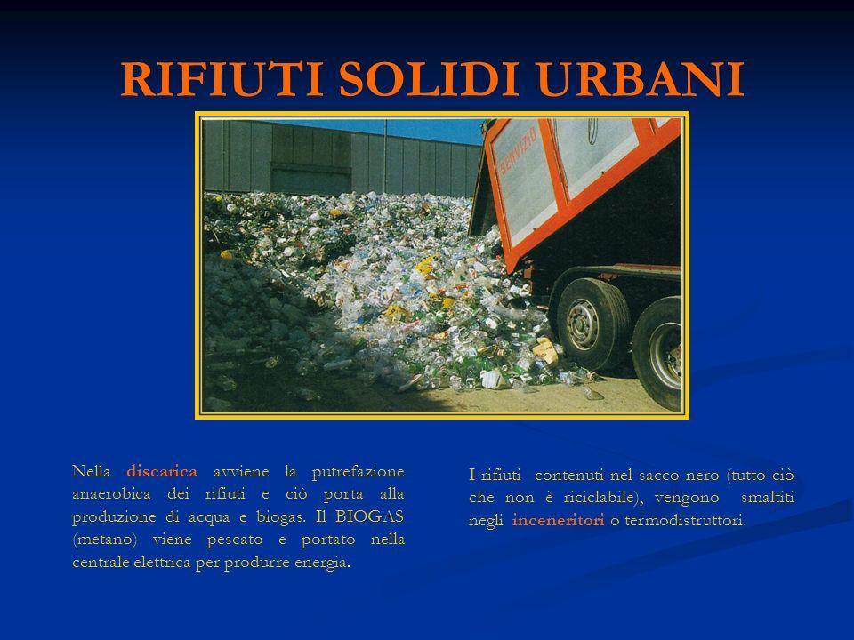 RIFIUTI SOLIDI URBANI Nella discarica avviene la putrefazione anaerobica dei rifiuti e ciò porta alla produzione di acqua e biogas.