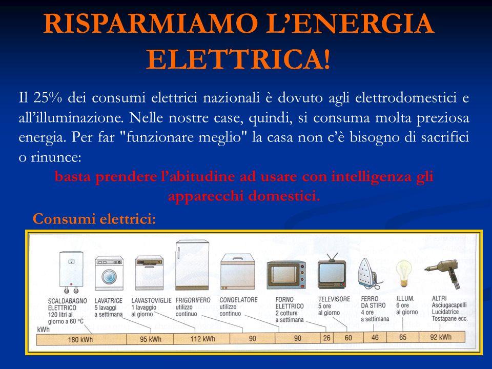 RISPARMIAMO LENERGIA ELETTRICA! Il 25% dei consumi elettrici nazionali è dovuto agli elettrodomestici e allilluminazione. Nelle nostre case, quindi, s