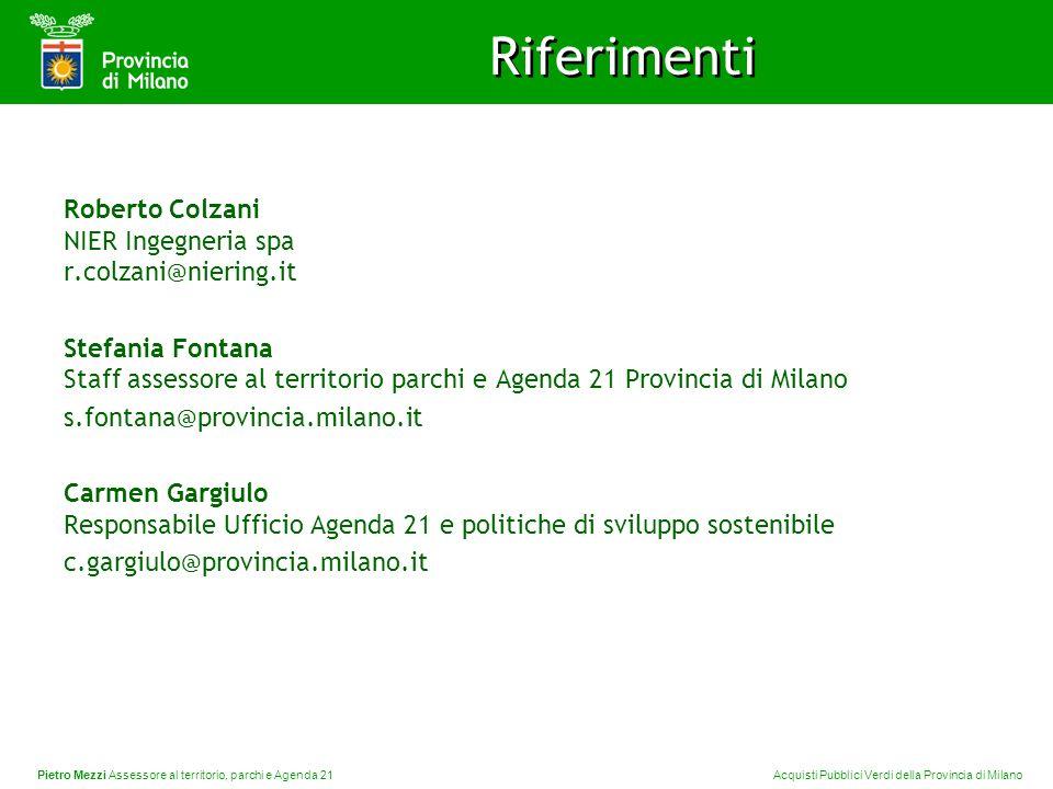 Pietro Mezzi Assessore al territorio, parchi e Agenda 21 Acquisti Pubblici Verdi della Provincia di Milano Riferimenti Roberto Colzani NIER Ingegneria