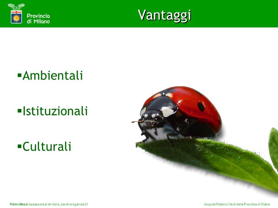 Pietro Mezzi Assessore al territorio, parchi e Agenda 21 Acquisti Pubblici Verdi della Provincia di Milano Vantaggi Ambientali Istituzionali Culturali