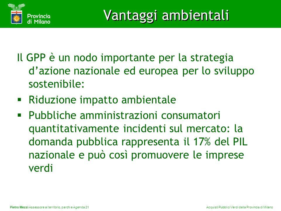 Pietro Mezzi Assessore al territorio, parchi e Agenda 21 Acquisti Pubblici Verdi della Provincia di Milano Vantaggi ambientali Il GPP è un nodo import