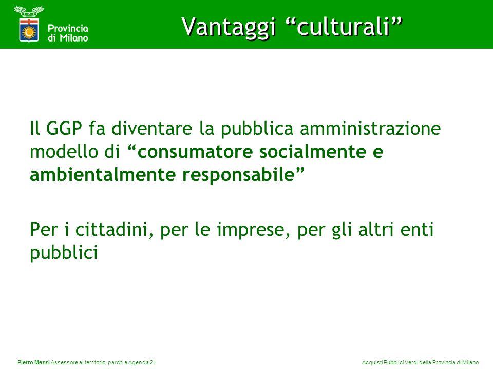 Pietro Mezzi Assessore al territorio, parchi e Agenda 21 Acquisti Pubblici Verdi della Provincia di Milano Vantaggi culturali Il GGP fa diventare la p