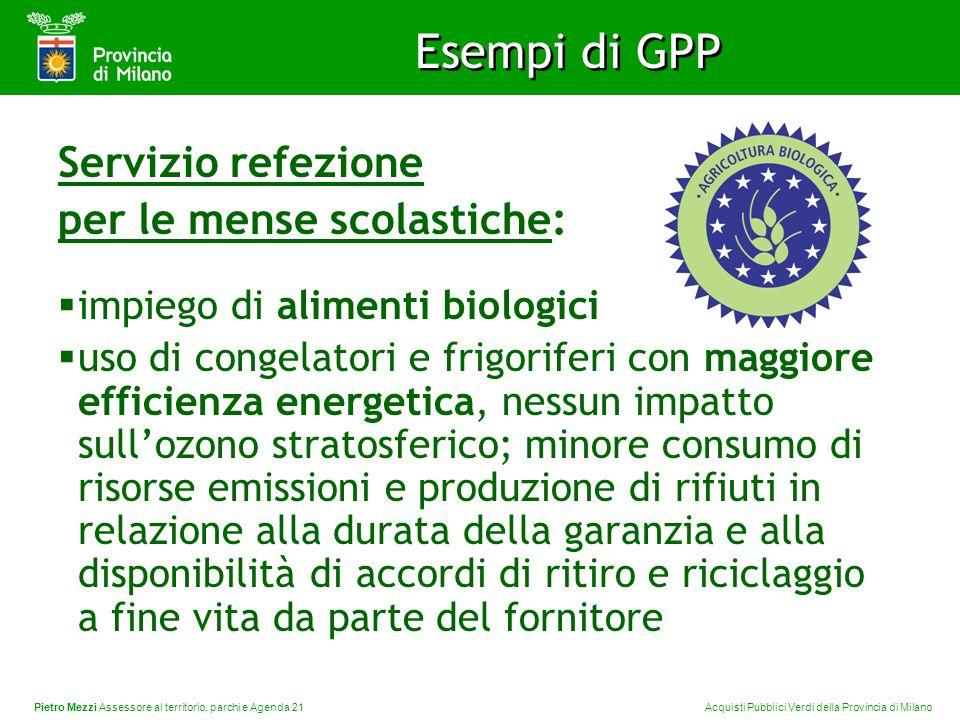 Pietro Mezzi Assessore al territorio, parchi e Agenda 21 Acquisti Pubblici Verdi della Provincia di Milano Esempi di GPP Servizio refezione per le men
