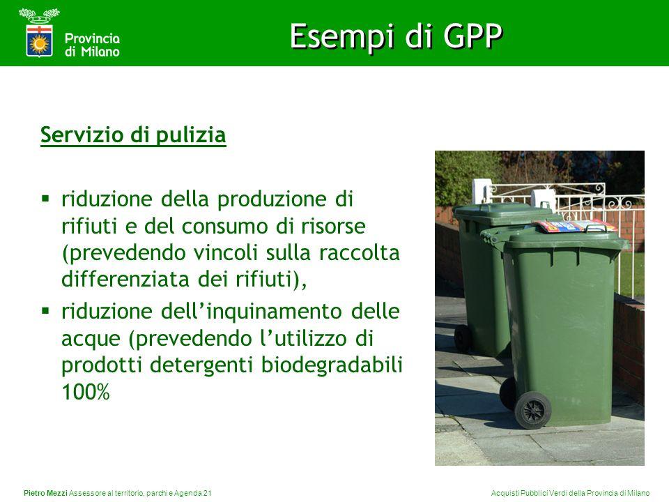 Pietro Mezzi Assessore al territorio, parchi e Agenda 21 Acquisti Pubblici Verdi della Provincia di Milano Esempi di GPP Servizio di pulizia riduzione