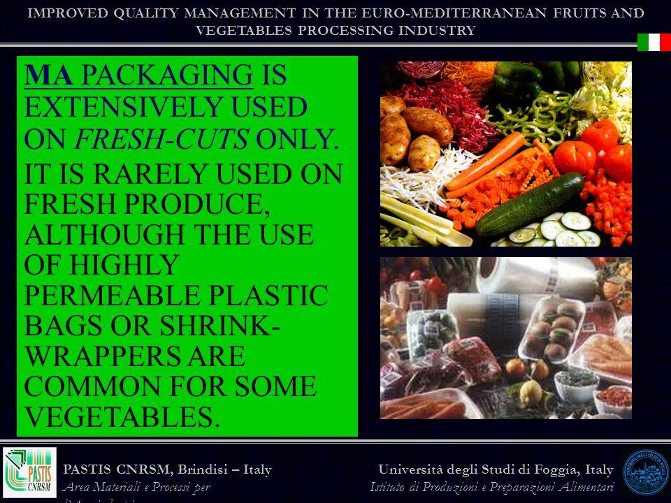 IMPROVED QUALITY MANAGEMENT IN THE EURO-MEDITERRANEAN FRUITS AND VEGETABLES PROCESSING INDUSTRY Università degli Studi di Foggia, Italy Istituto di Produzioni e Preparazioni Alimentari PASTIS CNRSM, Brindisi – Italy Area Materiali e Processi per lAgroindustria MA PACKAGING IS EXTENSIVELY USED ON FRESH-CUTS ONLY.
