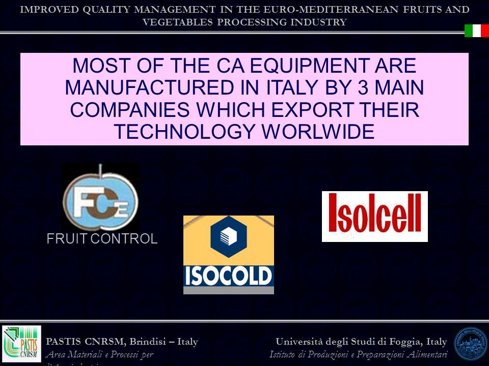IMPROVED QUALITY MANAGEMENT IN THE EURO-MEDITERRANEAN FRUITS AND VEGETABLES PROCESSING INDUSTRY Università degli Studi di Foggia, Italy Istituto di Produzioni e Preparazioni Alimentari PASTIS CNRSM, Brindisi – Italy Area Materiali e Processi per lAgroindustria MOST OF THE CA EQUIPMENT ARE MANUFACTURED IN ITALY BY 3 MAIN COMPANIES WHICH EXPORT THEIR TECHNOLOGY WORLWIDE FRUIT CONTROL