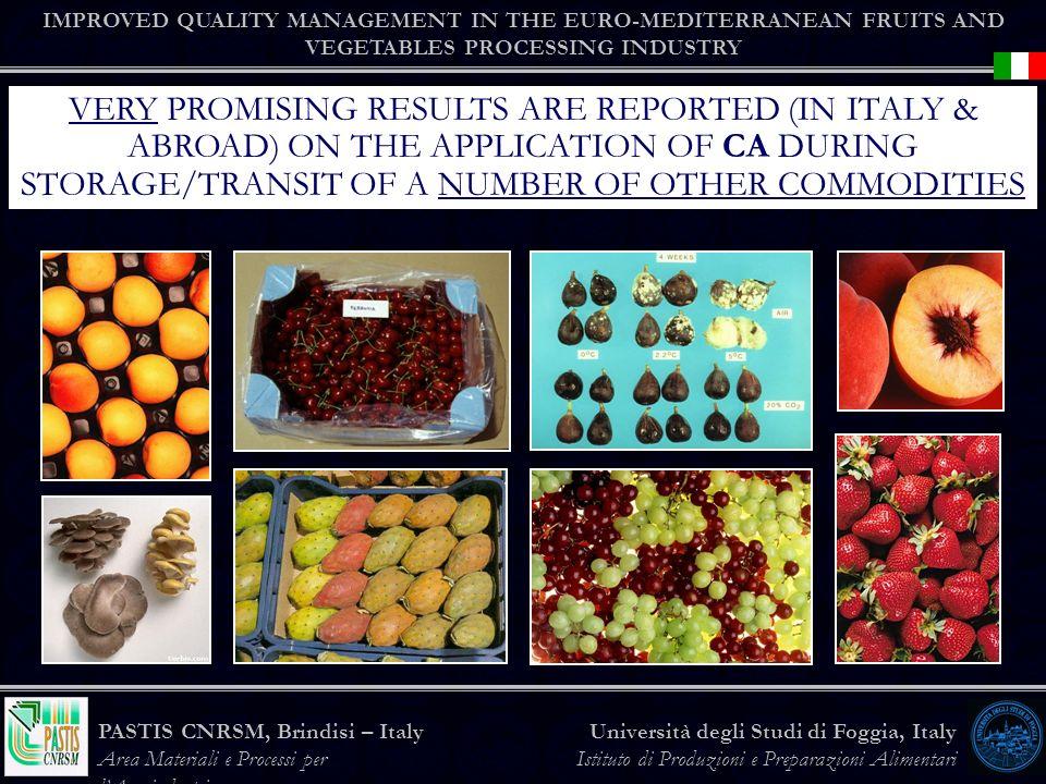 IMPROVED QUALITY MANAGEMENT IN THE EURO-MEDITERRANEAN FRUITS AND VEGETABLES PROCESSING INDUSTRY Università degli Studi di Foggia, Italy Istituto di Produzioni e Preparazioni Alimentari PASTIS CNRSM, Brindisi – Italy Area Materiali e Processi per lAgroindustria VERY PROMISING RESULTS ARE REPORTED (IN ITALY & ABROAD) ON THE APPLICATION OF CA DURING STORAGE/TRANSIT OF A NUMBER OF OTHER COMMODITIES