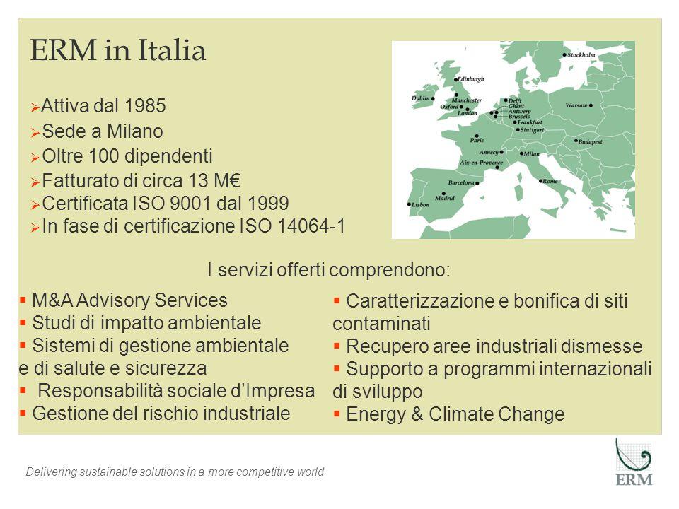 ERM in Italia Attiva dal 1985 Sede a Milano Oltre 100 dipendenti Fatturato di circa 13 M Certificata ISO 9001 dal 1999 In fase di certificazione ISO 1