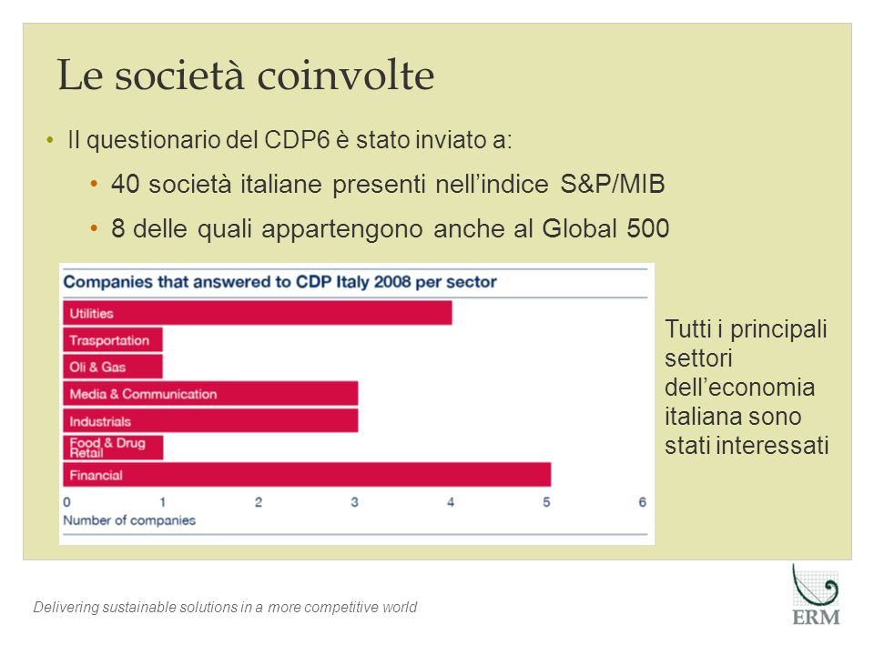 Delivering sustainable solutions in a more competitive world Le società coinvolte Tutti i principali settori delleconomia italiana sono stati interess