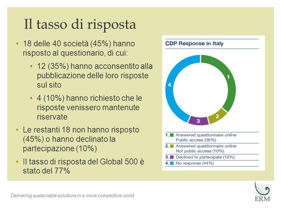 Delivering sustainable solutions in a more competitive world Il tasso di risposta 18 delle 40 società (45%) hanno risposto al questionario, di cui: 12