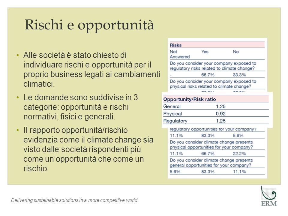Delivering sustainable solutions in a more competitive world Rischi La maggior parte delle società valuta i rischi normativi come un possibile problema per il proprio mercato Ad es.