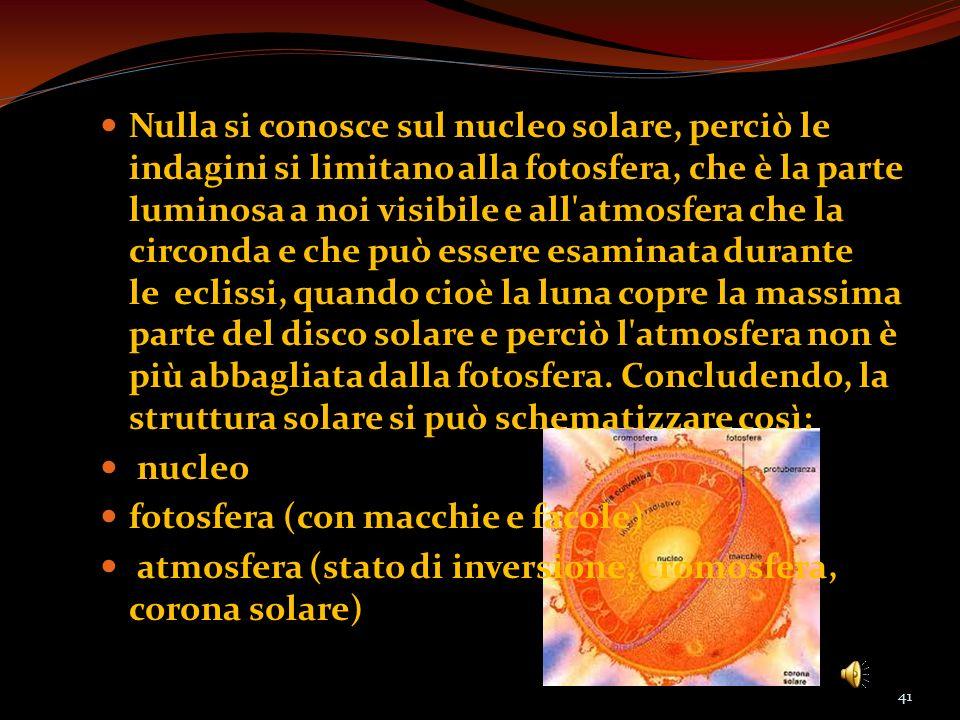 Nulla si conosce sul nucleo solare, perciò le indagini si limitano alla fotosfera, che è la parte luminosa a noi visibile e all'atmosfera che la circo