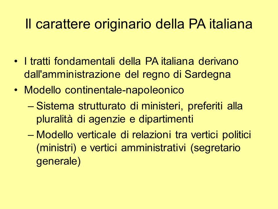 Il carattere originario della PA italiana I tratti fondamentali della PA italiana derivano dall'amministrazione del regno di Sardegna Modello continen