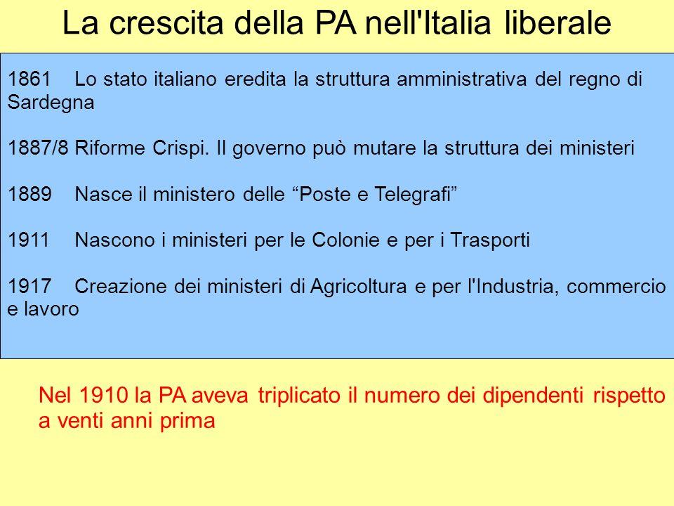 La crescita della PA nell'Italia liberale 1861Lo stato italiano eredita la struttura amministrativa del regno di Sardegna 1887/8Riforme Crispi. Il gov