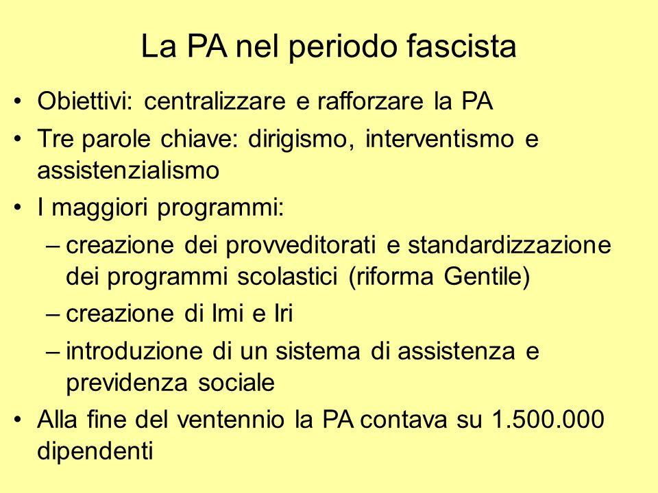 La PA nel periodo fascista Obiettivi: centralizzare e rafforzare la PA Tre parole chiave: dirigismo, interventismo e assistenzialismo I maggiori progr