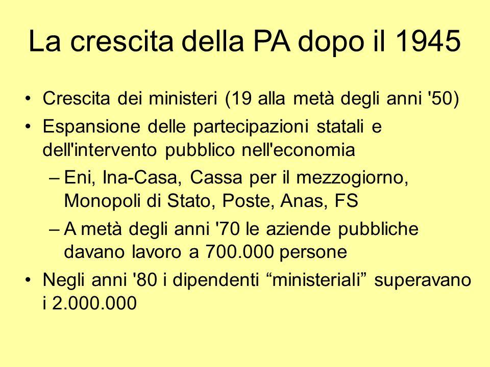 La crescita della PA dopo il 1945 Crescita dei ministeri (19 alla metà degli anni '50) Espansione delle partecipazioni statali e dell'intervento pubbl
