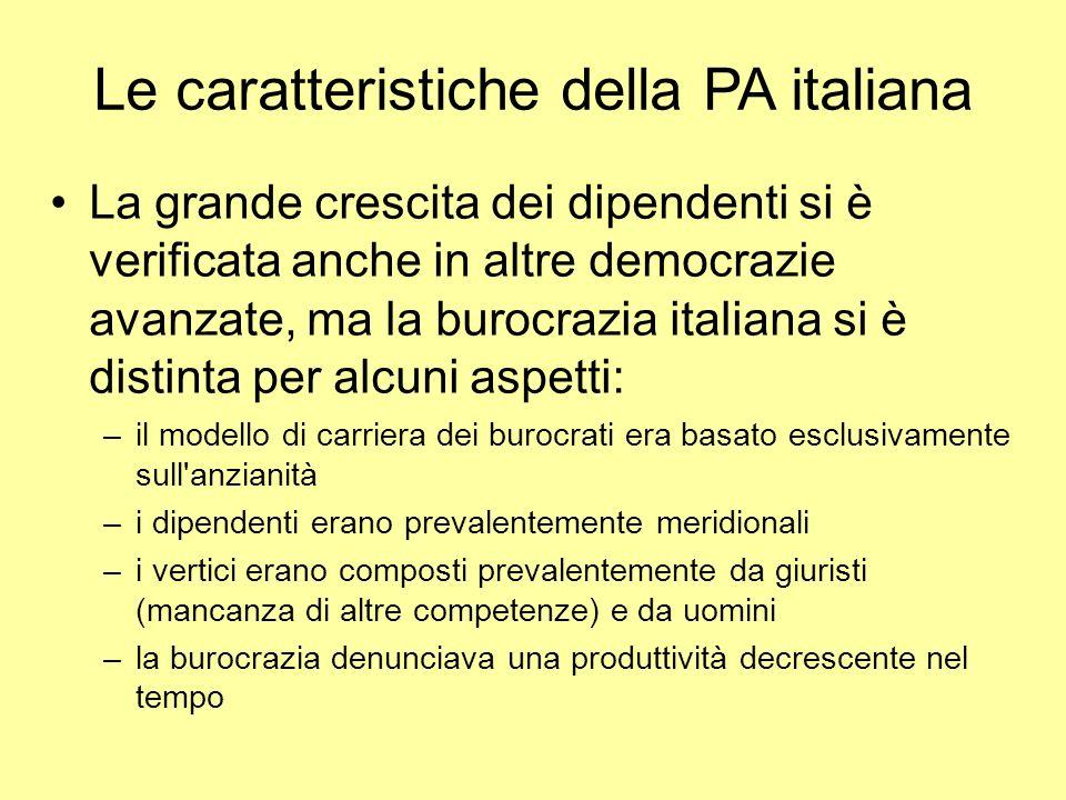 Le caratteristiche della PA italiana La grande crescita dei dipendenti si è verificata anche in altre democrazie avanzate, ma la burocrazia italiana s