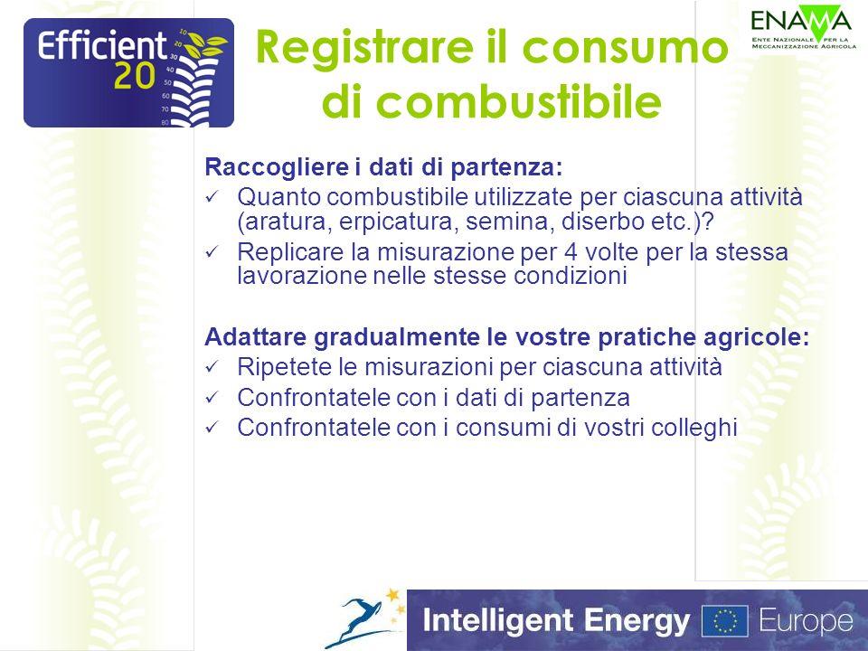 Registrare il consumo di combustibile Raccogliere i dati di partenza: Quanto combustibile utilizzate per ciascuna attività (aratura, erpicatura, semina, diserbo etc.).