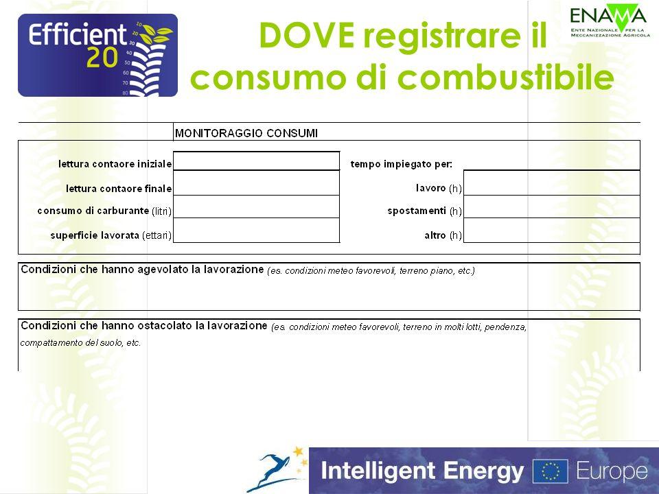 DOVE registrare il consumo di combustibile