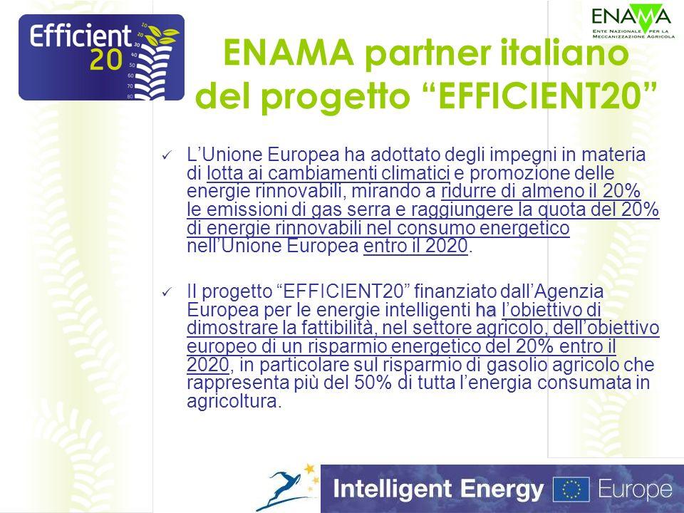 ENAMA partner italiano del progetto EFFICIENT20 LUnione Europea ha adottato degli impegni in materia di lotta ai cambiamenti climatici e promozione delle energie rinnovabili, mirando a ridurre di almeno il 20% le emissioni di gas serra e raggiungere la quota del 20% di energie rinnovabili nel consumo energetico nellUnione Europea entro il 2020.