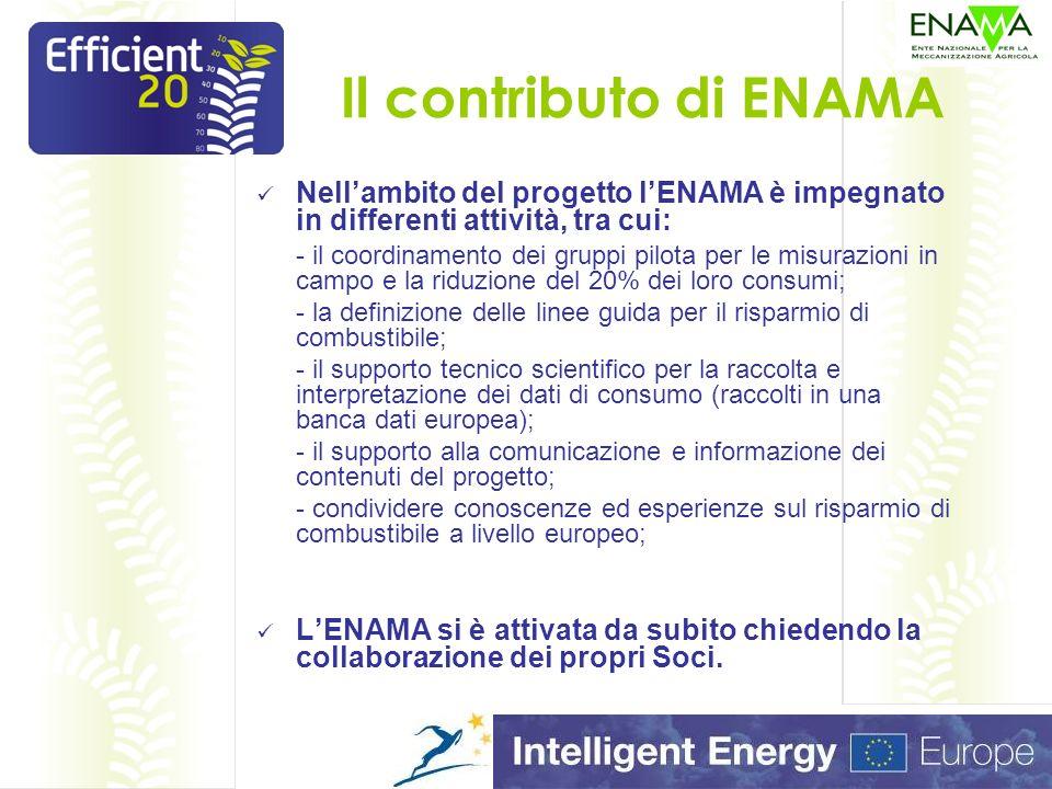 Il contributo di ENAMA Nellambito del progetto lENAMA è impegnato in differenti attività, tra cui: - il coordinamento dei gruppi pilota per le misurazioni in campo e la riduzione del 20% dei loro consumi; - la definizione delle linee guida per il risparmio di combustibile; - il supporto tecnico scientifico per la raccolta e interpretazione dei dati di consumo (raccolti in una banca dati europea); - il supporto alla comunicazione e informazione dei contenuti del progetto; - condividere conoscenze ed esperienze sul risparmio di combustibile a livello europeo; LENAMA si è attivata da subito chiedendo la collaborazione dei propri Soci.
