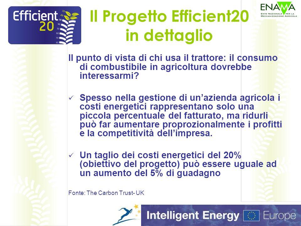 Il Progetto Efficient20 in dettaglio Pensate ai prezzi del gasolio (agricolo) negli ultimi 10 anni e adesso pensate allandamento dei prezzi di vendita dei prodotti agricoli nello stesso arco di tempo