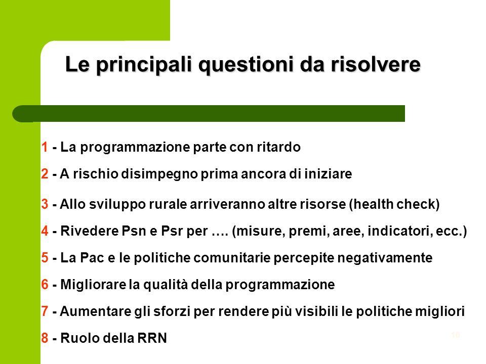 10 Le principali questioni da risolvere 3 - Allo sviluppo rurale arriveranno altre risorse (health check) 2 - A rischio disimpegno prima ancora di iniziare 1 - La programmazione parte con ritardo 6 - Migliorare la qualità della programmazione 4 - Rivedere Psn e Psr per ….