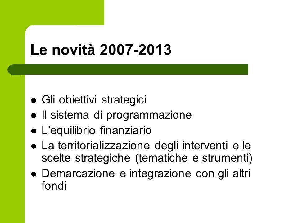 Le novità 2007-2013 Gli obiettivi strategici Il sistema di programmazione Lequilibrio finanziario La territorializzazione degli interventi e le scelte strategiche (tematiche e strumenti) Demarcazione e integrazione con gli altri fondi
