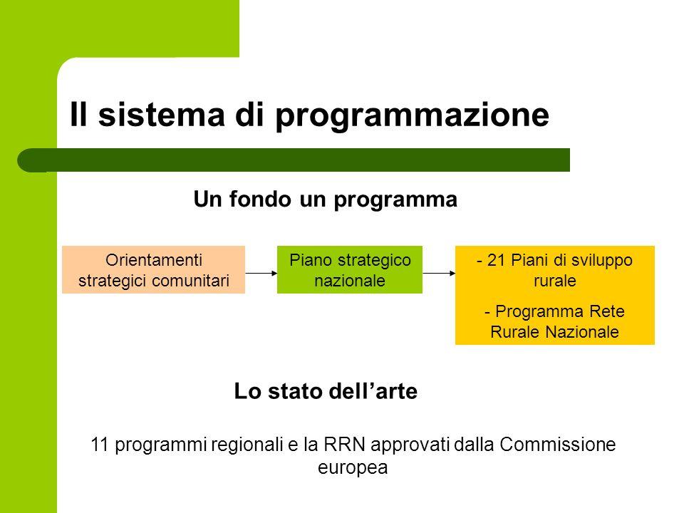 Il sistema di programmazione Un fondo un programma Orientamenti strategici comunitari Piano strategico nazionale - 21 Piani di sviluppo rurale - Programma Rete Rurale Nazionale Lo stato dellarte 11 programmi regionali e la RRN approvati dalla Commissione europea