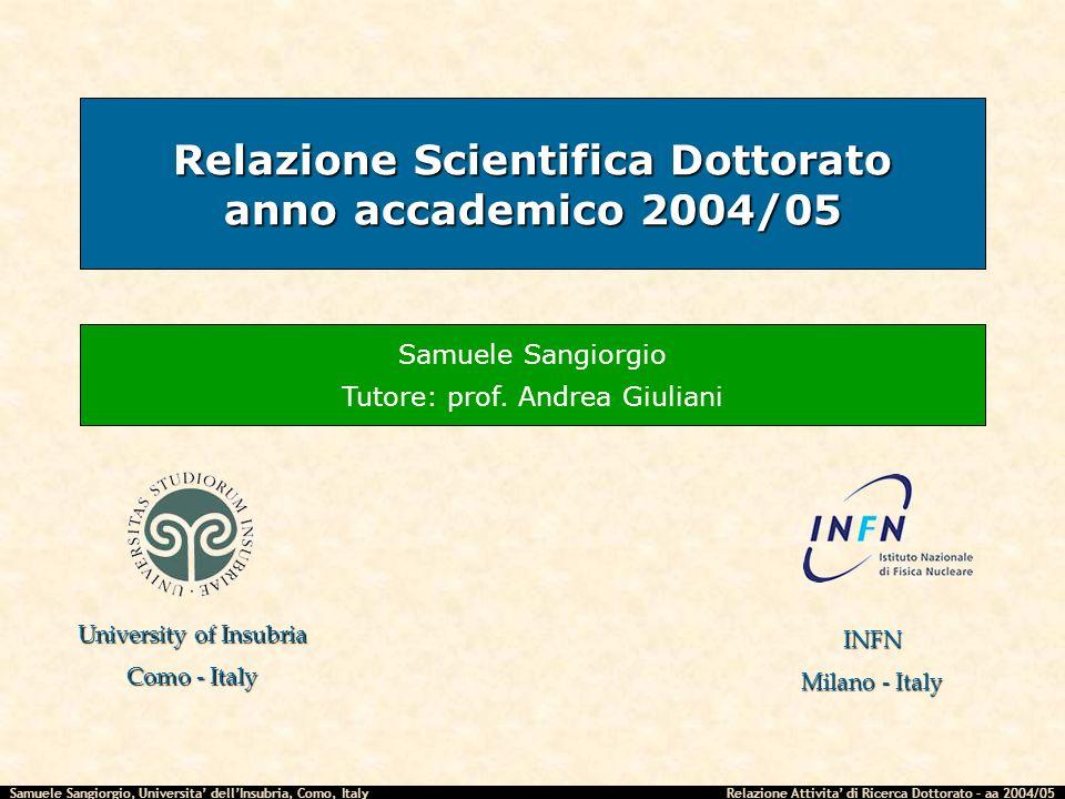 Samuele Sangiorgio, Universita dellInsubria, Como, Italy Relazione Attivita di Ricerca Dottorato – aa 2004/05 Relazione Scientifica Dottorato anno acc