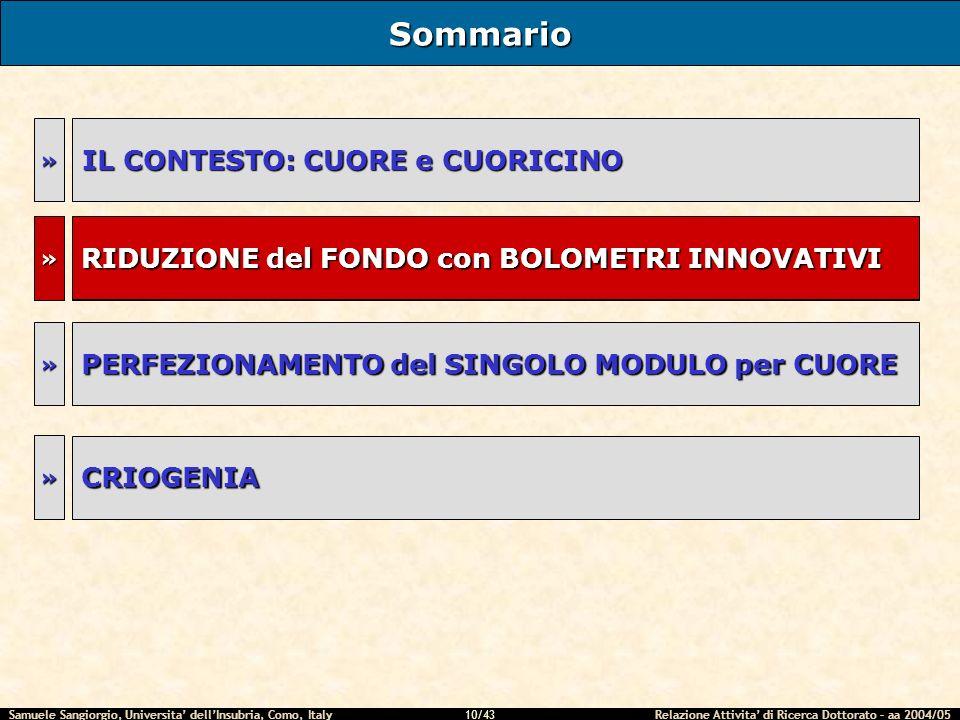 Samuele Sangiorgio, Universita dellInsubria, Como, Italy Relazione Attivita di Ricerca Dottorato – aa 2004/05 10/43 RIDUZIONE del FONDO con BOLOMETRI INNOVATIVI Sommario IL CONTESTO: CUORE e CUORICINO RIDUZIONE del FONDO con BOLOMETRI INNOVATIVI » » » PERFEZIONAMENTO del SINGOLO MODULO per CUORE » CRIOGENIA »