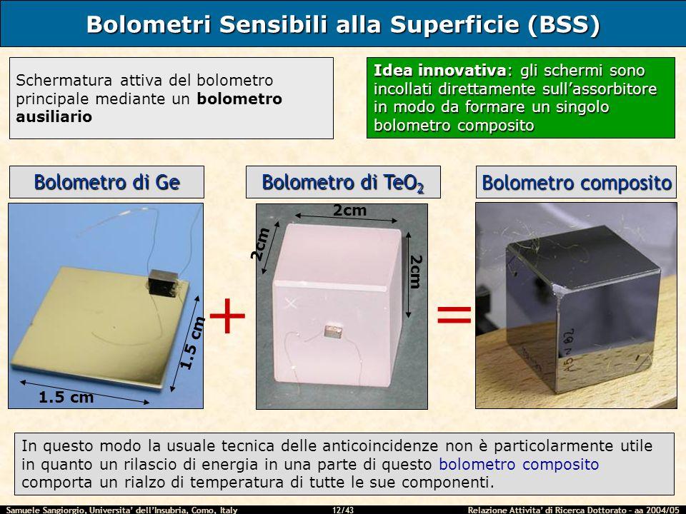 Samuele Sangiorgio, Universita dellInsubria, Como, Italy Relazione Attivita di Ricerca Dottorato – aa 2004/05 12/43 Bolometri Sensibili alla Superfici