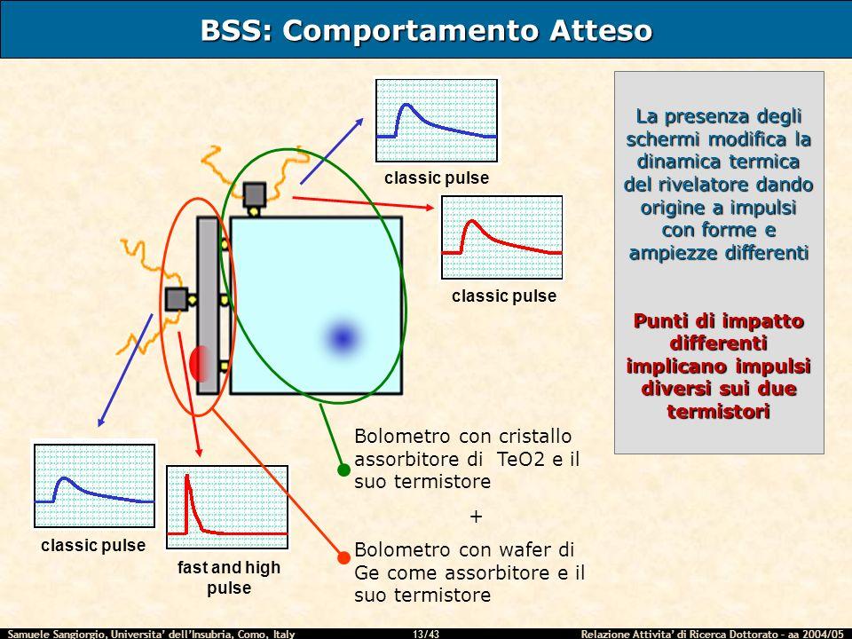 Samuele Sangiorgio, Universita dellInsubria, Como, Italy Relazione Attivita di Ricerca Dottorato – aa 2004/05 13/43 BSS: Comportamento Atteso classic