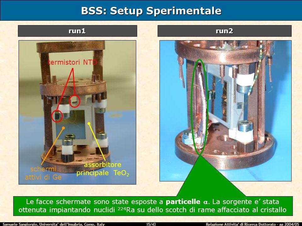 Samuele Sangiorgio, Universita dellInsubria, Como, Italy Relazione Attivita di Ricerca Dottorato – aa 2004/05 15/43 BSS: Setup Sperimentale run1run2 t