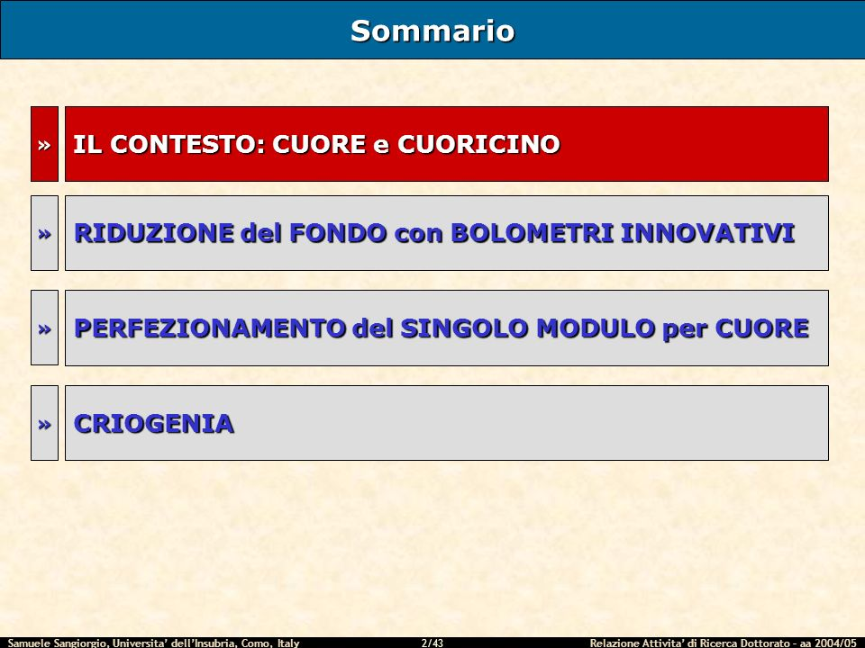 Samuele Sangiorgio, Universita dellInsubria, Como, Italy Relazione Attivita di Ricerca Dottorato – aa 2004/05 2/43 IL CONTESTO: CUORE e CUORICINO Sommario RIDUZIONE del FONDO con BOLOMETRI INNOVATIVI » »» PERFEZIONAMENTO del SINGOLO MODULO per CUORE » CRIOGENIA »
