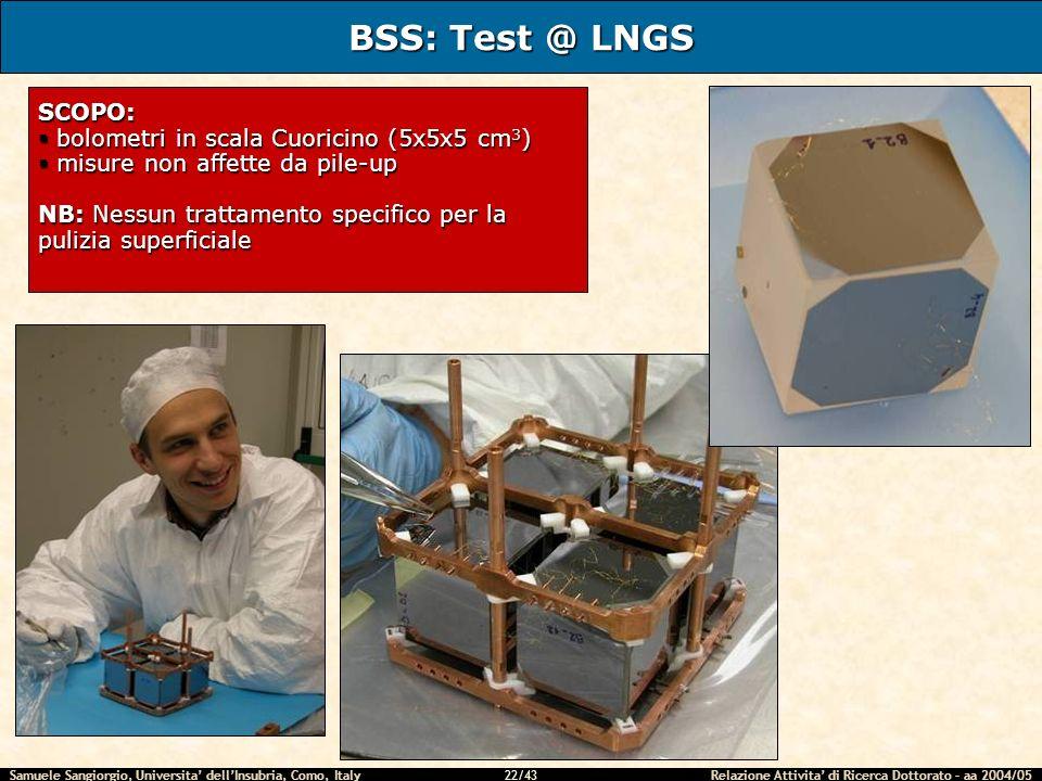 Samuele Sangiorgio, Universita dellInsubria, Como, Italy Relazione Attivita di Ricerca Dottorato – aa 2004/05 22/43 BSS: Test @ LNGS SCOPO: bolometri in scala Cuoricino (5x5x5 cm 3 ) bolometri in scala Cuoricino (5x5x5 cm 3 ) misure non affette da pile-up misure non affette da pile-up NB: Nessun trattamento specifico per la pulizia superficiale