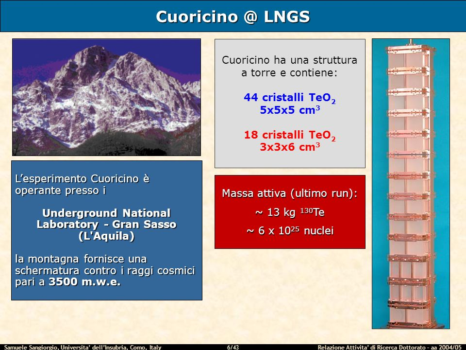 Samuele Sangiorgio, Universita dellInsubria, Como, Italy Relazione Attivita di Ricerca Dottorato – aa 2004/05 6/43 Cuoricino @ LNGS Lesperimento Cuoricino è operante presso i Underground National Laboratory - Gran Sasso (L Aquila) la montagna fornisce una schermatura contro i raggi cosmici pari a 3500 m.w.e.