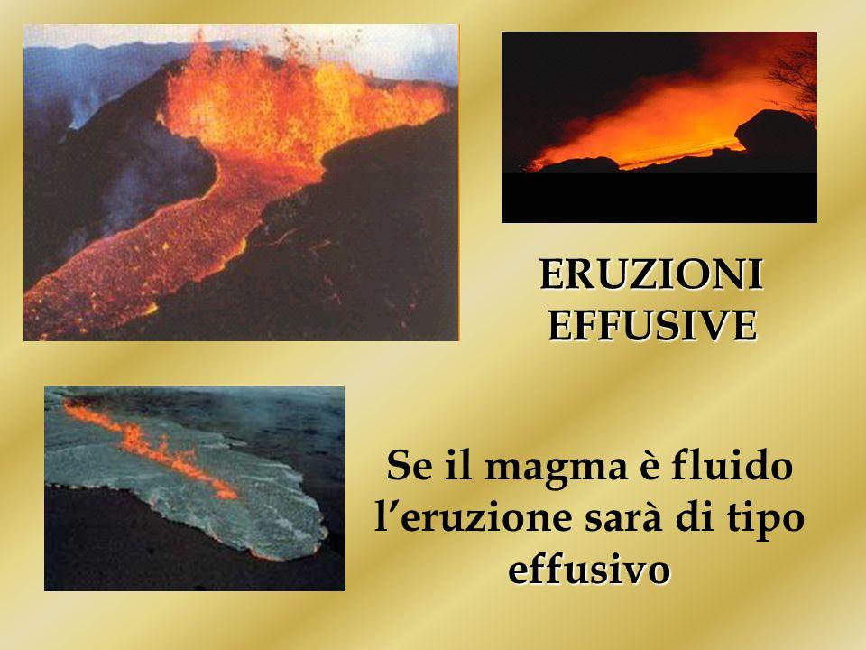 ERUZIONI EFFUSIVE effusivo Se il magma è fluido leruzione sarà di tipo effusivo