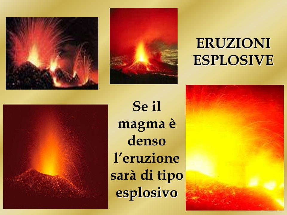 ERUZIONI ESPLOSIVE esplosivo Se il magma è denso leruzione sarà di tipo esplosivo