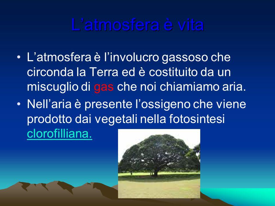 Latmosfera è vita Latmosfera è linvolucro gassoso che circonda la Terra ed è costituito da un miscuglio di gas che noi chiamiamo aria. Nellaria è pres