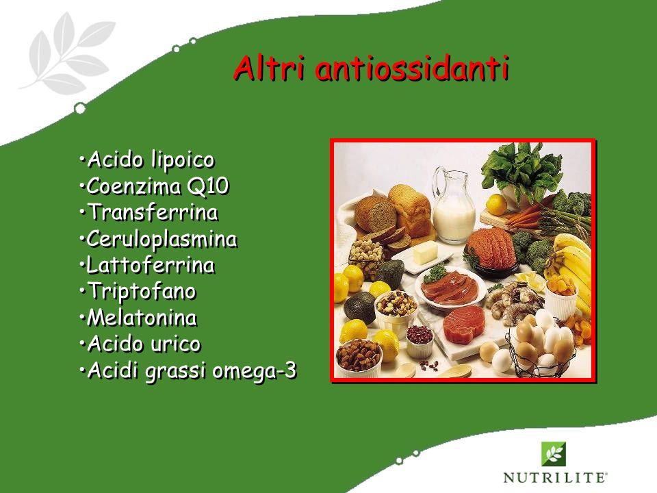 Altri antiossidanti Acido lipoico Coenzima Q10 Transferrina Ceruloplasmina Lattoferrina Triptofano Melatonina Acido urico Acidi grassi omega-3 Acido l