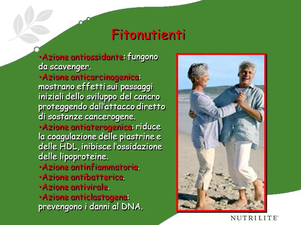 Fitonutienti Azione antiossidante: fungono da scavenger. Azione anticarcinogenica: mostrano effetti sui passaggi iniziali dello sviluppo del cancro pr