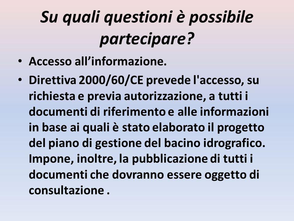 Su quali questioni è possibile partecipare? Accesso allinformazione. Direttiva 2000/60/CE prevede l'accesso, su richiesta e previa autorizzazione, a t