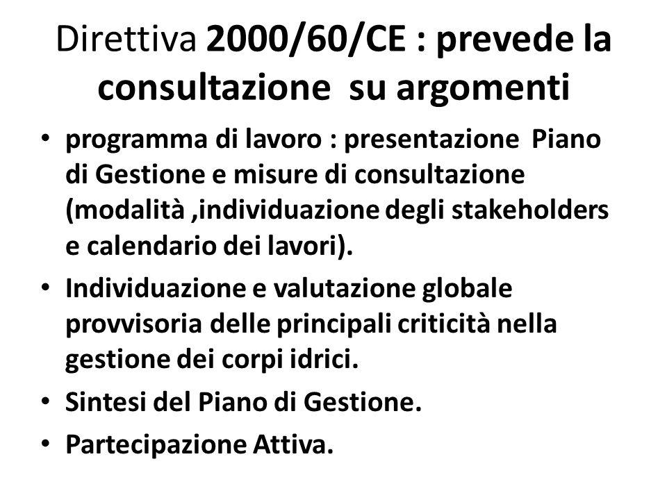 Direttiva 2000/60/CE : prevede la consultazione su argomenti programma di lavoro : presentazione Piano di Gestione e misure di consultazione (modalità