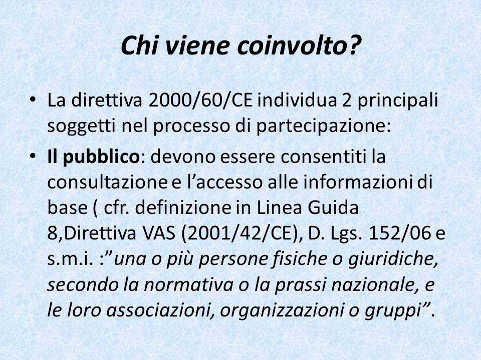 Chi viene coinvolto? La direttiva 2000/60/CE individua 2 principali soggetti nel processo di partecipazione: Il pubblico: devono essere consentiti la